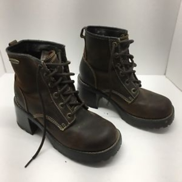 9a86aa98072 Skechers Lace Up Combat Chunky Heel Boots